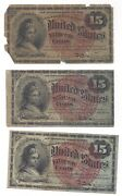 Lot Of 3 -fourth Issue Fifteen Cents 15c Fractional- Fifteen Cents Civil War Era