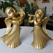 Vintage Christmas Decorations Ceramic Gold Angels Statues Pair Figurines 60s 70s