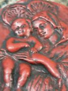 Mary W/ Baby Jesus Red Wax Relief Carved Great For Christians And Collectors