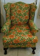 Antique Chippendale Wing Back Chair With Ball And Claw Feet Decor Rare Furniture