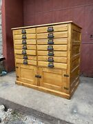1880s Printer Apothecary Cabinet Country Industrial Farmhouse Ledger Tv Console