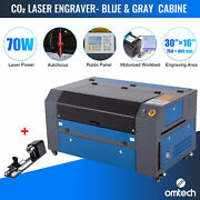Omtech 70w 16x30 In. Co2 Laser Engraver Machine With Autofocus And Rotary Axis B