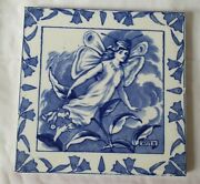 Stunning Antique Wedgwood Blue And White Fairy 'moth' Design 8 Inch Tile
