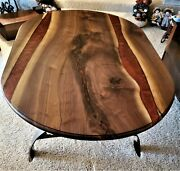 Walnut Resin River Dining Room Table With Steel Legs