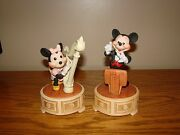 Vintage Walt Disney Productions Mickey And Minnie Wind Porcelain Musical Figurines