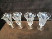 """Vtg Tiffin Crystal Etched Cherokee Rose 4 Ice Tea Tumbler Footed 10½"""" Oz 1940's"""