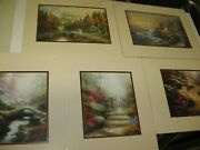 5 -new In Plastic- Thomas Kinkade Lithograph Prints Matted- 14 X 11