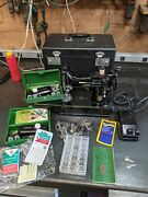Serviced 1951 Singer Featherweight 221 Centennial Sewing Machine W/ Keys And Case