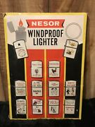 12 Collectible Vintage Nesor Lighters In Rare Display 9 Unused
