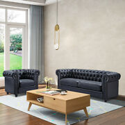 Modern Living Room Sofatufted Leather Cushion 1 Seater / 3 Seater Couch Armchair