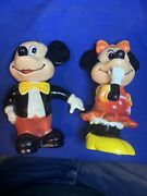 Vintage Mickey And Minnie Mouse Plastic Coin Banks Disney 70andrsquos 6-1/2andrdquo