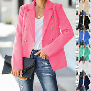 Womens Double Breasted Suit Collar Blazer Ladies Cardigan Coats Formal Jackets