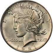 1921 1 Peace Dollar - Type 1 High Relief Pcgs Ms64 3295-8