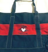New Disney Cruise Line Red And Blue Large Canvas Tote Bag W/ Zippered Top - Rare