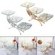 Decorative Classic Metal Glass Fruit Plate Serving Tray Bedroom Hotel Decor