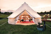 5m Family Camping Cotton Canvas Bell Tent Waterproof Groundsheet 4 Season Tipi