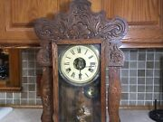Antique Wood Kitchen Ginger Bread Mantle Clock For Parts Repair