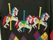 Vtg Sweater The Import Workshop Women Sweater Carousel Horses Size L Colorful