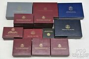 19 Assorted Us Mint And Proof Set Boxes, Gold Commems Boxes Wcoa's, No Coins 21793