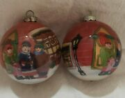 Two Glass Balls Vintage Christmas Ornament, Toy And Antique Shops