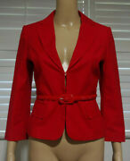 Lanvin Red 3/4 Length Sleeve Belted Blazer Size 4 In Great Condition