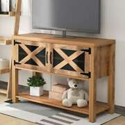44 Tv Stand Wood Console Entertainment Center With Storage Cabinets And Shelves