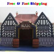 Custom House Shaped Giant Inflatable Bar Pub Tent With Casks For Outdoor Party