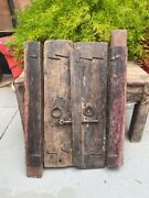 Antique Handcrafted Wooden Window Door With Knocker And Lock Latch Wall Decor