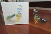 Pier One 1 Blue Green Glass Peacock Figurine In Box