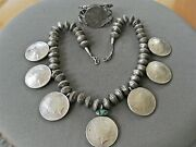 Navajo Turquoise 8 Peace Silver Dollar Coins And Dimes Bead Necklace And Bracelet