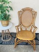 Antique Cane Style Rocking Chair W/ Rattan Wicker Seat Rare Ornate Vintage Small
