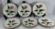6 Stangl Pottery Pink Thistle Bread Or Cake Plates - 6.25 Inch - Mid Century