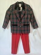 Vintage Blue Graff Californiawear Pant Suit Size 10 Christmas Suit New With Tags
