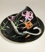 Vintage Antique Noritake M Japan Black Cup And Saucer Fine Bone China Hand Painted