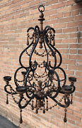 Vintage Wrought Iron Chandelier Wood Beads Bobbles Spain Sweden Mid Century