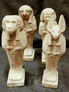 Rare Ancient Egyptian Antiques 4 Sons Of God Horus Statues Limestone 2421 Bc