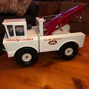 """Vintage Classic Mighty Tonka Tow Truck Double Boom Wrecker White C1970 18.5"""" L"""