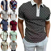 Mens Short Sleeve Casual Polo Shirts Slim Fit Business Blouse Tops Check T-shirt