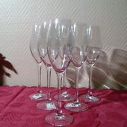6 Champagne Flutes Crystal Dand039arques Of Model Wine Emotion Signed C