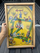 Vintage 1930and039s Poosh-m-up Jr. Table Top Pinball Game Made In U.s.a. Baseball