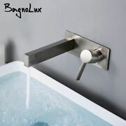 Bathroom Basin Sink Faucet Wall Mounted Hot Cold Water Mixer Dual Hole Vanity