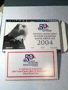 2004 S Silver 50 State Quarter Proof Set With All Govt Packaging And Coa