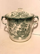 Rare Porcelain Blue Willow Fancy Slop-jar With Lid And Scrolled Handles