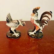 Vintage Rooster And Hen Figurines Black/white Ceramic Made In Japan