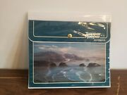 Vintage 1980s Mead Trapper Keeper Mountains Ocean Blue 3 Ring Binder Used