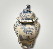 Huge Vintage Monumental Blue And White Temple Jar Foo Dog Lid By Maitland-smith