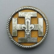 French, Antique Scout Badge, Clover. Large Insigna. Brooch. Hat. Beret.