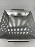 Bbq Grill Basket Tray Veggie Basket Cooking Stainless Steel Easy Clean 14x2x2.5