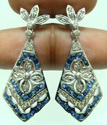 1.12ct Real Diamond 14k Hallmark Solid Gold Dangliers Sapphire Earrings A943