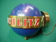 Rare 1950and039s Schlitz Spinning Blue Globe Beer Lighted Wall Sconce Rotating Nice